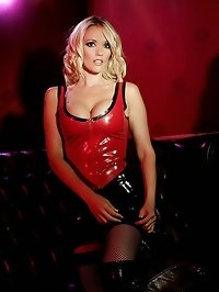 Stunning blonde is bound in chains and forced to show her..