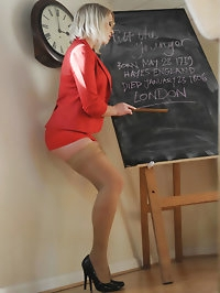 Lesbian blonde teacher Miss Abigail and schoolgirl..