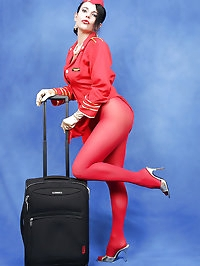 Red pantyhose match her outfit
