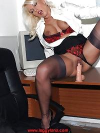Busty blonde secretary Lana has some kinky alone time on..