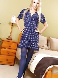 Kinky blonde teases her way out of her cute blue summer..