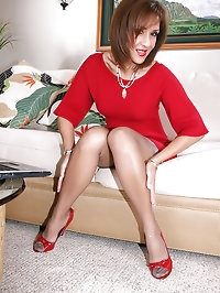 This mature lady in red Roni wearing some sexy stockings