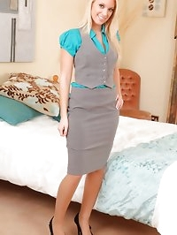 Sexy blonde secretary pleases her boss in her tight grey..