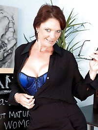 Filthy hot milf teacher strips and pleasures her mature..