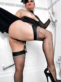 Girlie wears a sexy black thong