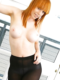 Redhead Fi looking fabulous in a purple top, miniskirt and..