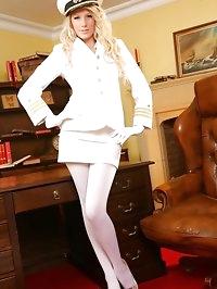 Cute Ashlea looks wondeful dressed in her white uniform..