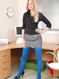 Stunning, leggy blonde loves to tease her work colleagues..