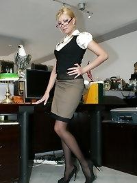 Blonde hot office slut Donna fucking at work