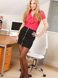 Long legged blonde slowly removes her miniskirt and red..