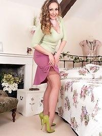 Beautifully dressed n the bedroom, Sophias parading..