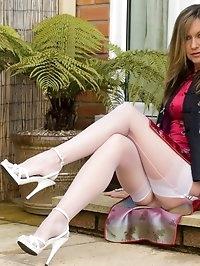 heels and sheer panties outdoors