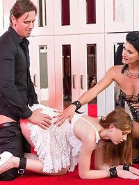 Cougar Celine Makes Her Sex Slave Linda Take an Anal..