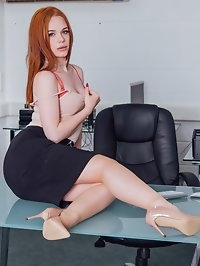 Hot Redhead Ella Hughes Earns Her Job by Fucking the Boss