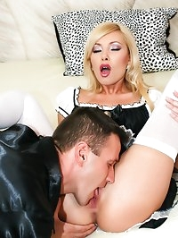 Beautiful babe Donna Bell gets anally fucked on the bed