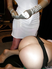 Nylon Jane in stockings and long satin gloves dominates..
