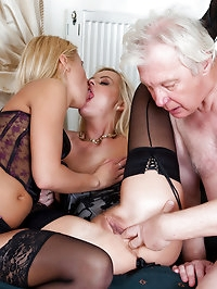 Old lucky fucker is dealing with two blondes