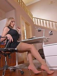 Nylon Driven Fantasies: Leggy Blonde Rides Dildo At Office