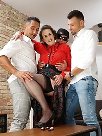Horny Allison takes on three guys at once