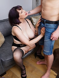 Big breasted mature Tigger plays with her toy boy