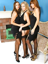 3 gorgeous girls give us a delightful treat in sexy black..