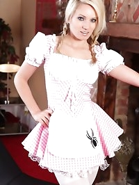 Cute blonde teases her way out of her little miss muffet..
