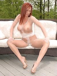 Darling teases in her white lingerie