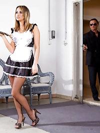 Horny maid in fishnet stockings fucking hard