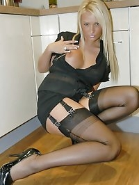 Blonde charms in seductive stockings