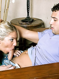 Hot blonde cougar takes advantage of her son's friend.
