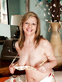 Sexy housewife strips off her sheer thong and reveals her..