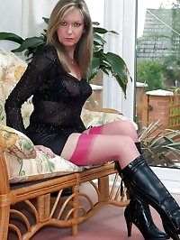 tight skirt and sexy boots