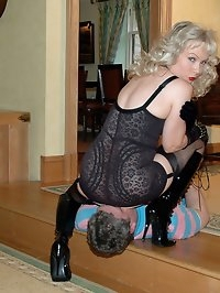 breath control from girdled and booted blonde