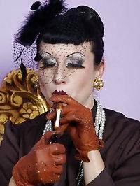 mature elegant stocking lady flashing her pussy while..