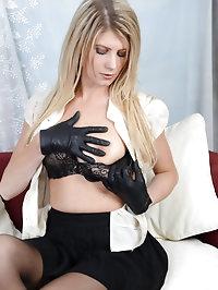 Hot blonde Ashleigh strips off her underwear and plays..