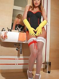 Hot blonde masturbates with gloves