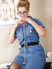 Hot blonde nurse from AllOver30 gives herself a..