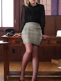Sexy blonde secretary in lingerie
