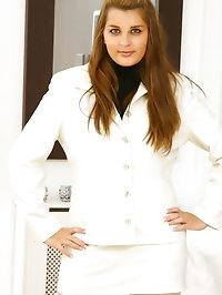 Beautiful brunette Jenkins looks incredible in her white..