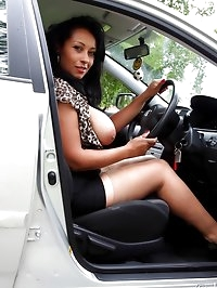 Danica Collins picks up a hitchhiker and flashes her tits..
