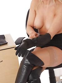 Gorgeous blonde secretary Frankie puts on leather gloves..