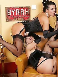 Brunette and blonde having sex