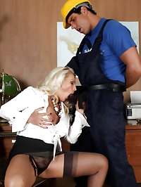Lana has a workman over and sucks his cock as payment