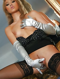 Asian girl plays with satin gloves