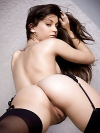 Brunette looks absolutely amazing in her sexiest black..