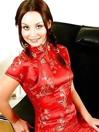 Perfect brunette in Chinese minidress
