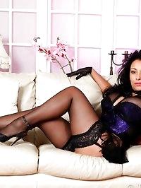 Danica Collins in sexy black lace gloves