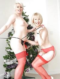 Gorgeous MILFs Hazel and Sally perform a sexy striptease..