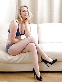 Cute blonde Toni shows her matching blue lingerie and..
