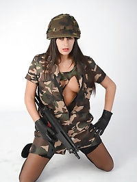 Army soldier Simone wants to show off her secret weapons..